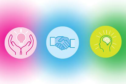 Key 3 power bases; pink light bulb; blue handshake; green brain